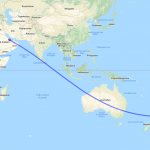 Karte der Route von Doha nach Auckland