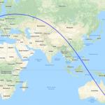 Karte mit Route von London nach Sydney