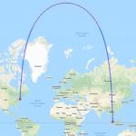 Karte mit Route von Singapur nach New York